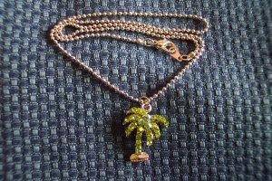 Vintage Rhinestone Palmtree PENDANT Necklace Costume Jewelry 3necklace