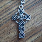 Vintage Silvertone Cross PENDANT Necklace Costume Jewelry 14necklace