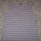 Gap Striped Gray Pink Tank TOP Size S Small Shirt locationw9