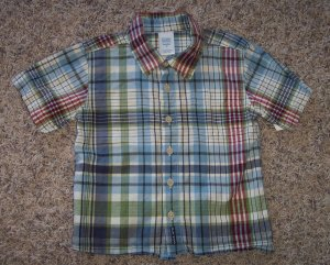 Old Navy Outlet Boy's Short Sleeve Shirt 3T Blue Green Plaid locationw8