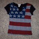 Vintage VIA 101 Cap Sleeve Black Patriotic Flag Top Size M Womans Shirt wt-11 locationw1