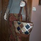 Vintage Worthington Purse Tote Handbag Double Straps Straw Woven locationw1