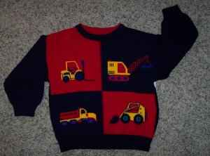 PLAID MOOSE Boy's Acrylic Sweater 4(S) Work Vehicles Tractors Dump Truck Crane locationw14