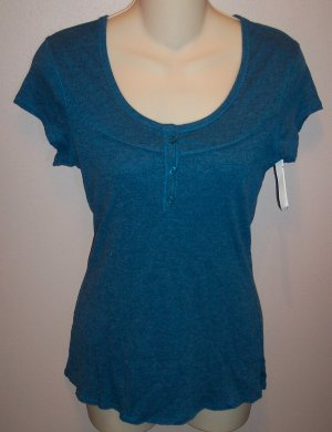Maurices Cap Sleeve Blue Top Size M Medium wt-18 location6