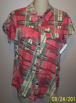 Derek Heart Peach Plaid Cap Sleeve Top Blouse wt-30 location5