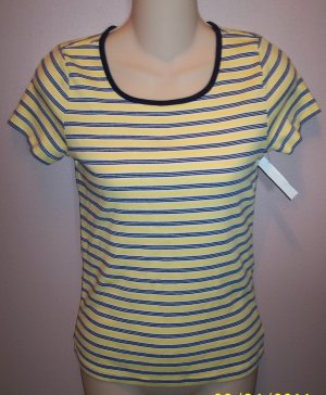 Jones New York Sport Petite Yellow Black Stripe Top Size Petite wt-32 location5