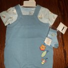 DISNEY INFANT Boy's Tropical Winnie The Pooh 3pc OUTFIT SET Onesie Shortall 6 - 9 Months locationw8