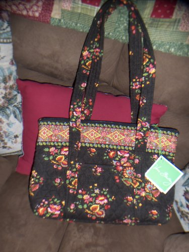 NWT Vera Bradley Chocolat Retired Double Handle Tote Chocolate Brown Floral Print location15