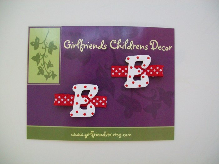 Letter Initial Clips - Set of 2 - Red
