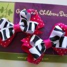Hot Pink Zebra Bow Piggies - Set of 2