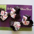 Pink and Brown Polka Dot Butterfly Bow Piggies - Set of 2