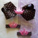 Princess Hair Clip Set - Pink & Brown Polka Dots