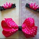 Princess Hair Clip Set - Pink & Black Polka Dots