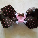 Punk Princess Hair Bow - Pink & Brown 3.5""