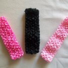 "Pink & Black 1.5"" Stretchy Interchangeable Hair Band Set - Add A Hair Bow, Clip or Flower"