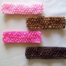 "Pink & Brown 1.5"" Stretchy Interchangeable Hair Band Set - Add A Hair Bow, Clip or Flower"