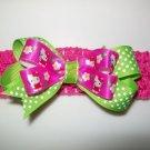 Hello Kitty Hair Bow and Headband Set - Hot Pink and Lime Green Polka Dots