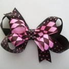 "Pink & Brown Polka Dot Argyle Print Stacked Hair Bow - Medium Size 3.5"" Wide"