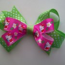 """Hello Kitty Hair Bow in Hot Pink and Lime Green Polka Dots - Medium 3.5"""""""
