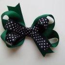 "Green Black and White School Team Hair Bow - Medium 3.5"" - Cheerleading, Soccer, Football, Baseball"