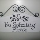 No Soliciting Please Sign for the Front Door of Your Home or Business in Black and White Damask
