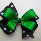 St Patricks Day Black and White Polka Dotted Hair Big Bow - 4.5 Inch -