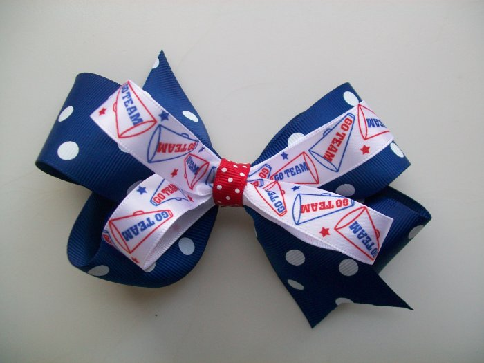 Royal Blue & Red Polka Dotted Hair Big Bow - 4.5 Inch - School Spirit, Great for Cheerleading