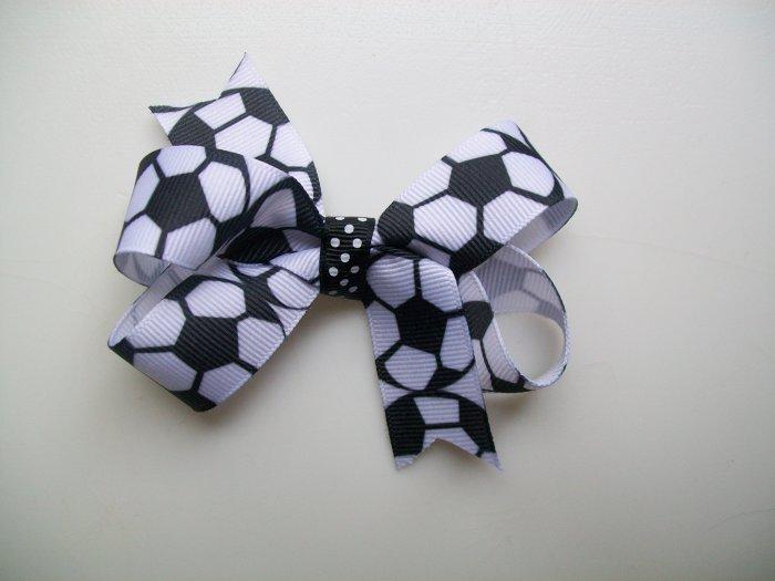 "Soccer Print Hair Bow - Medium 3 """