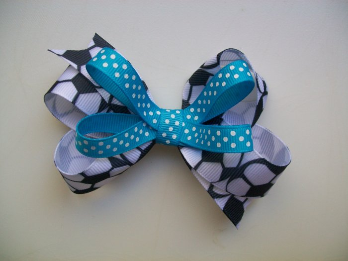 "Soccer Large 4"" Hair Bow - Turquoise Blue"