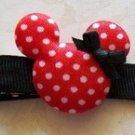 Minnie Mouse Hair Clip - Red & Black Polka Dots