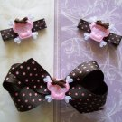Girly Goth Skull Hair Clippie Set -No Slip Grip for Fine Hair from Baby to Teen - Pink and Brown