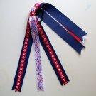 Red and Royal Blue Ponytail Streamer - Football Baseball Soccer School Spirit