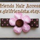 Pink & Brown Daisy Flower Clip-No Slip Grip