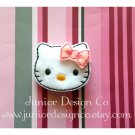 Pink and White Kitty Hair Clip-No Slip Grip