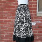 NWOT NYGARD COLLECTION LONG BLACK&IVORY PRINT SKIRT 14