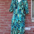 NWT MIRACLESUIT FAB GREEN ANIMAL PRINT WRAP DRESS 14