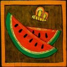 Two Primitive WOOD CARVINGS Bees, Watermelon, Flower FOLK ART