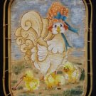 HEN and CHICKS Original Painting on Wicker Basket Tray CHICKENS by D. Vie