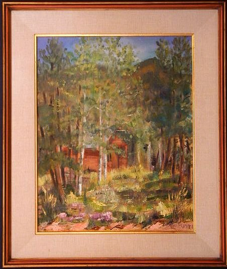 ASPEN and PINE Forest, Oil Painting, Mountain Landscape with Secluded Cabin, by FCA Parker