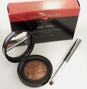 Laura Geller BEWITCHING BRONZE Eye Rimz Baked Wet/Dry Accent Shadow/Liner +Brush