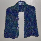 HAND KNITTED COLORWAVES WRAP BUTTONED UP WITH 3 FLOWERS