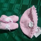 HAND KNITTED PINK HAT AND BOOTIES