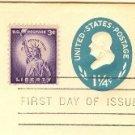 Benjamin Franklin 1 ¼ cent Stamped Envelope FDI SC U541 First Day Issue