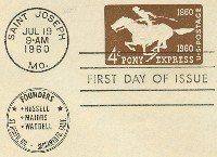 Pony Express 4 cent Stamped Envelope FDI SC U543 First Day Issue
