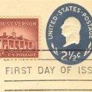 George Washington 2 ½ cent Stamped Envelope Mt Vernon 1 1/12 cent stamp FDI SC U542 First Day Issue