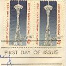 1962 Seattle Worlds Fair 4 cent Stamp FDI SC 1196 Horizontal Pair First Day Issue