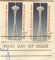 1962 Seattle Worlds Fair 4 cent Stamp FDI SC 1196 Horizontal Pair First Day Issue