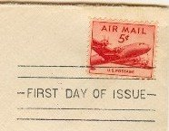 DC 4 Skymaster 5 cent Stamp FDI SC C33 First Day of Issue