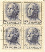 George Washington 5 cent Block of 4 FDI SC 1213 First Day Issue