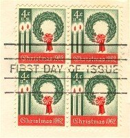 1962 4 cent Christmas Wreath Stamp Block of 4 FDI SC 1205 First Day Issue